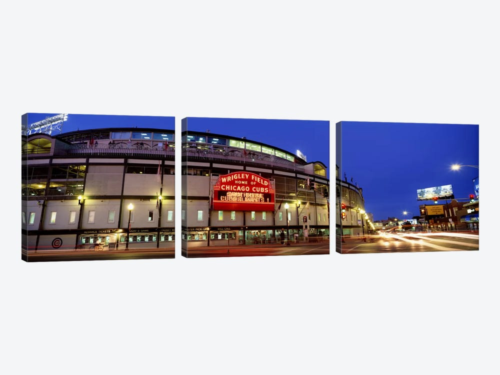 USA, Illinois, Chicago, Cubs, baseball #3 by Panoramic Images 3-piece Canvas Art Print