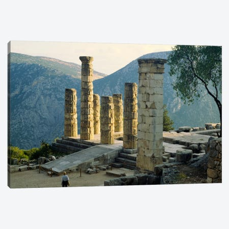 Remaining Doric Columns, Temple Of Apollo, Delphi, Greece Canvas Print #PIM2056} by Panoramic Images Canvas Print