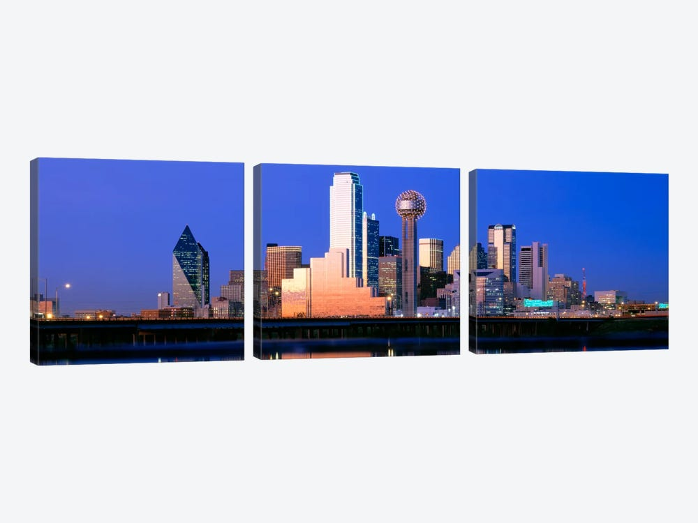 Night, Cityscape, Dallas, Texas, USA 3-piece Canvas Art