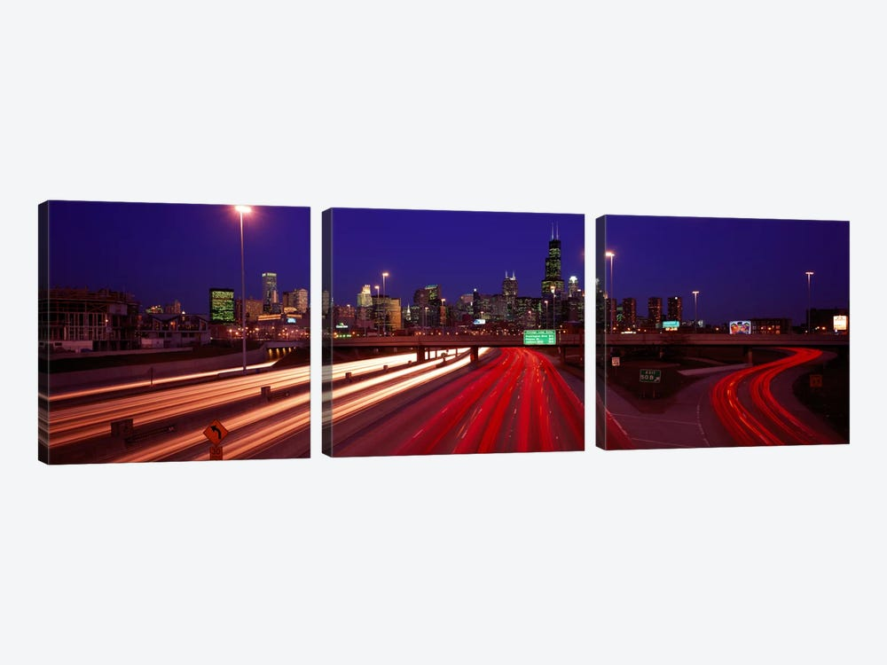 Kennedy Expressway Chicago IL USA by Panoramic Images 3-piece Canvas Art Print