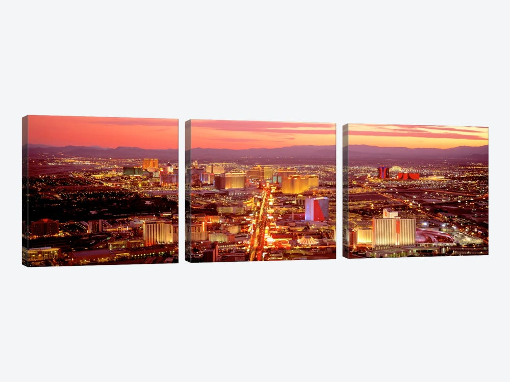 Aerial Las Vegas NV USA by Panoramic Images 3-piece Canvas Art