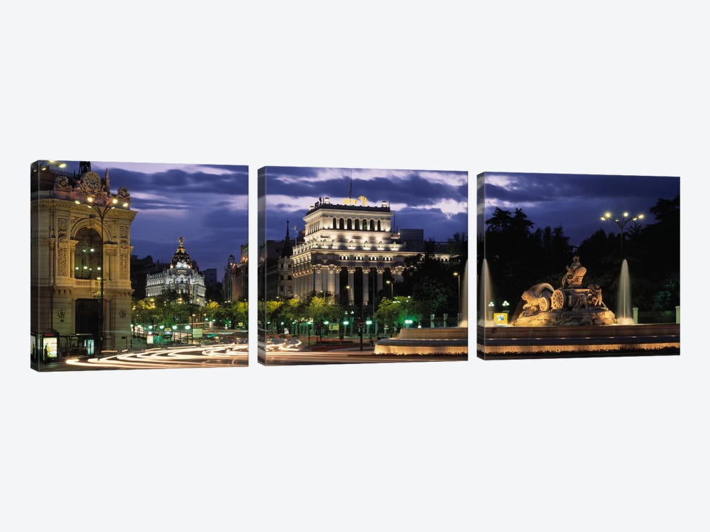 Western View From Plaza de Cibales, Madrid, Spain by Panoramic Images 3-piece Canvas Print
