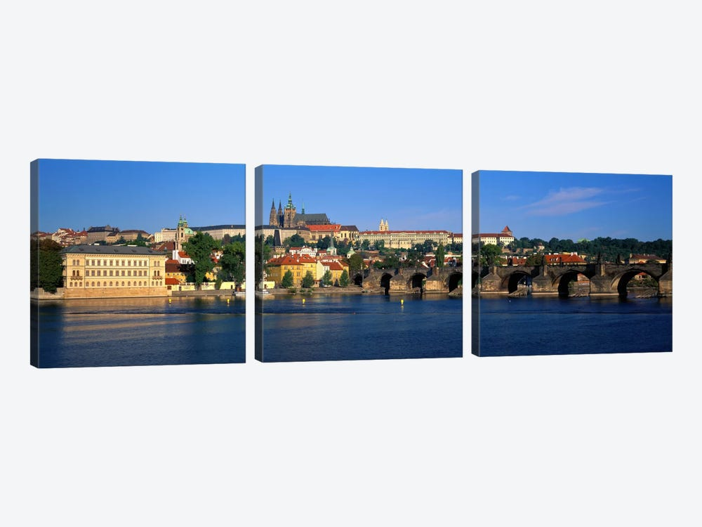 Vitava River Charles Bridge Prague Czech Republic by Panoramic Images 3-piece Canvas Print