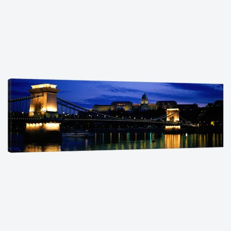 Szechenyi Bridge Royal Palace Budapest Hungary Canvas Print #PIM2070} by Panoramic Images Canvas Artwork