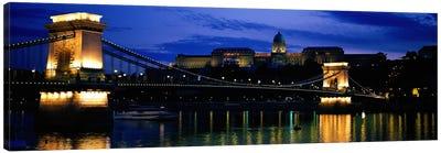 Szechenyi Bridge Royal Palace Budapest Hungary Canvas Print #PIM2070