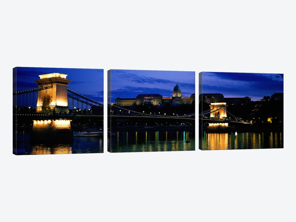Szechenyi Bridge Royal Palace Budapest Hungary by Panoramic Images 3-piece Canvas Art Print