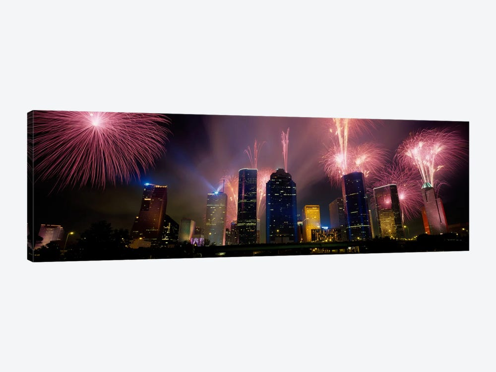 Fireworks Over Buildings In A City, Houston, Texas, USA by Panoramic Images 1-piece Canvas Art Print