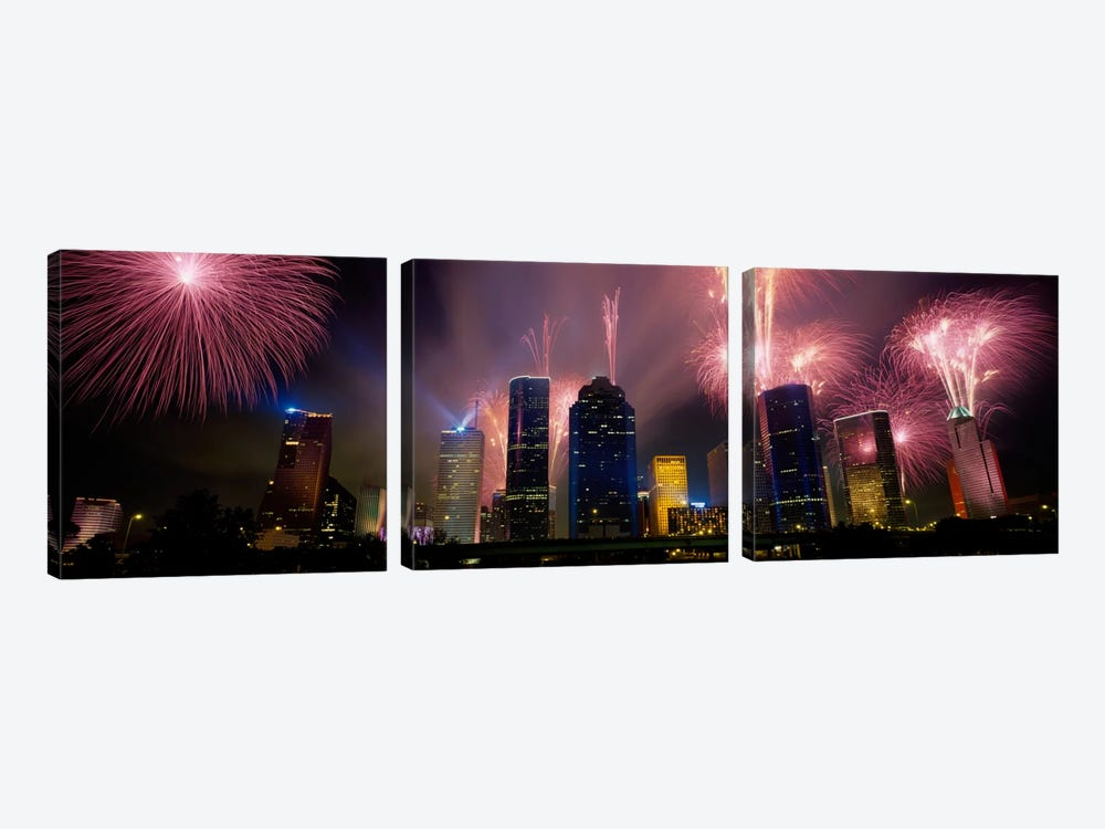 Fireworks Over Buildings In A City, Houston, Texas, USA by Panoramic Images 3-piece Canvas Art Print