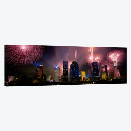 Fireworks Over Buildings In A City, Houston, Texas, USA Canvas Print #PIM2076} by Panoramic Images Canvas Print