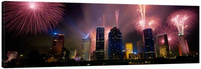Fireworks Over Buildings In A City, Houston, Texas, USA Canvas Art Print