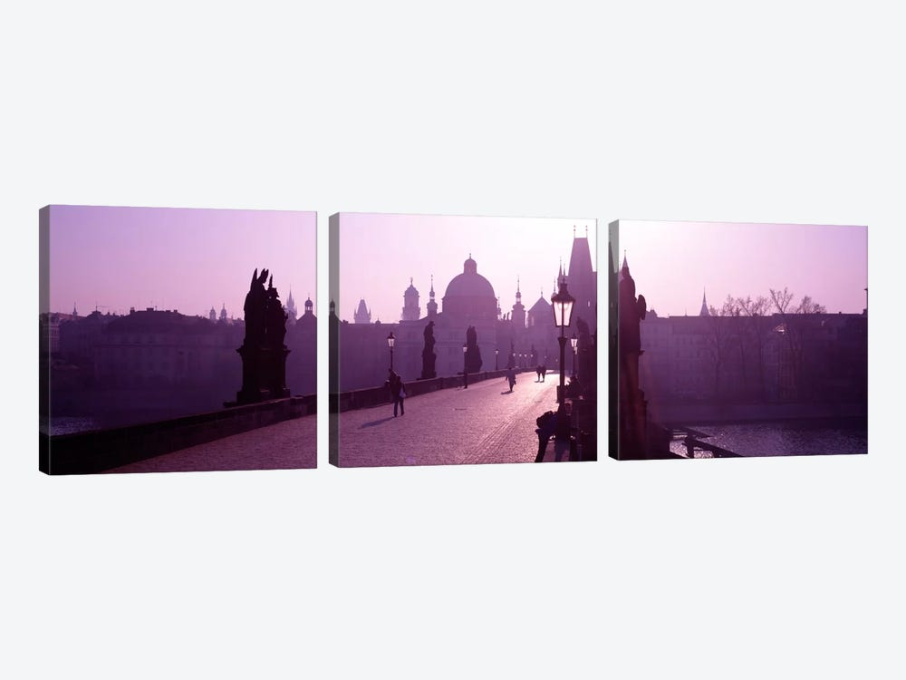 Charles Bridge Moldau River Prague Czech Republic by Panoramic Images 3-piece Canvas Artwork