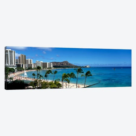 Buildings On The Beach, Waikiki Beach, Honolulu, Oahu, Hawaii, USA Canvas Print #PIM207} by Panoramic Images Art Print