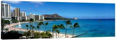 Buildings On The Beach, Waikiki Beach, Honolulu, Oahu, Hawaii, USA Canvas Print #PIM207