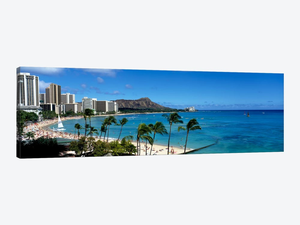 Buildings On The Beach, Waikiki Beach, Honolulu, Oahu, Hawaii, USA by Panoramic Images 1-piece Canvas Artwork