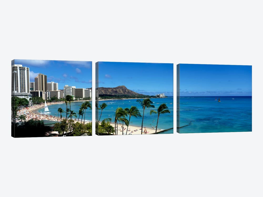 Buildings On The Beach, Waikiki Beach, Honolulu, Oahu, Hawaii, USA by Panoramic Images 3-piece Canvas Artwork