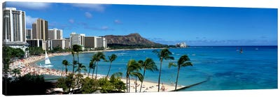 Buildings On The Beach, Waikiki Beach, Honolulu, Oahu, Hawaii, USA Canvas Art Print