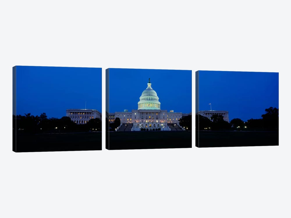 Government building lit up at dusk, Capitol Building, Washington DC, USA by Panoramic Images 3-piece Art Print