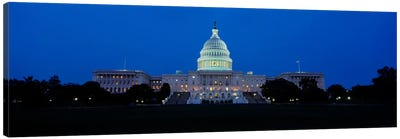 Government building lit up at dusk, Capitol Building, Washington DC, USA Canvas Art Print