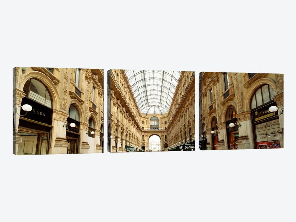 Galleria Vittorio Emanuele II, Milan, Italy by Panoramic Images 3-piece Canvas Wall Art