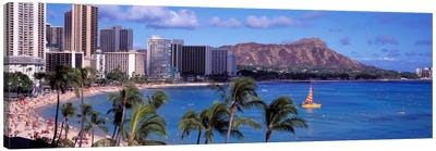 Waikiki Beach, Honolulu, Hawaii, USA Canvas Art Print