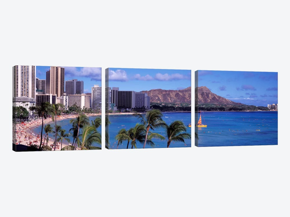 Waikiki Beach, Honolulu, Hawaii, USA by Panoramic Images 3-piece Canvas Art Print
