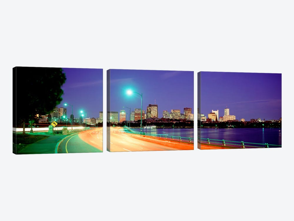 USAMassachusetts, Boston, Highway along Charles River by Panoramic Images 3-piece Canvas Art Print