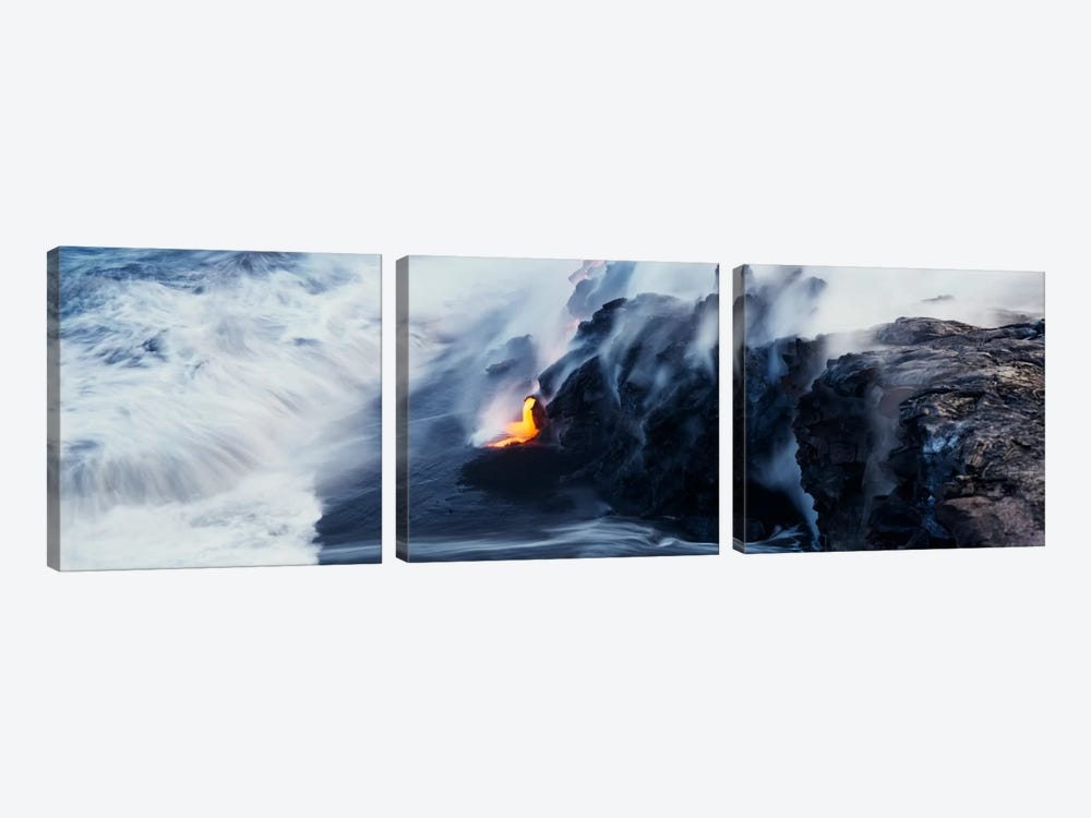Glowing Lava Stream, Hawai'i Volcanoes National Park, Big Island, Hawaii, USA by Panoramic Images 3-piece Canvas Artwork