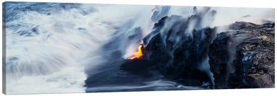 Glowing Lava Stream, Hawai'i Volcanoes National Park, Big Island, Hawaii, USA Canvas Art Print