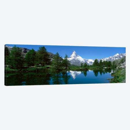 Matterhorn's Reflection, Riffelsee, Zermatt, Valais, Switzerland Canvas Print #PIM2105} by Panoramic Images Art Print