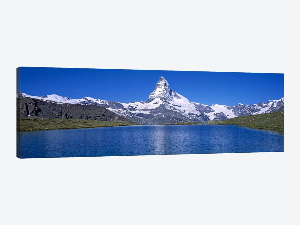 A Snow Covered Matterhorn With Reffelsee In The Foreground, Valais, Switzerland by Panoramic Images 1-piece Canvas Print