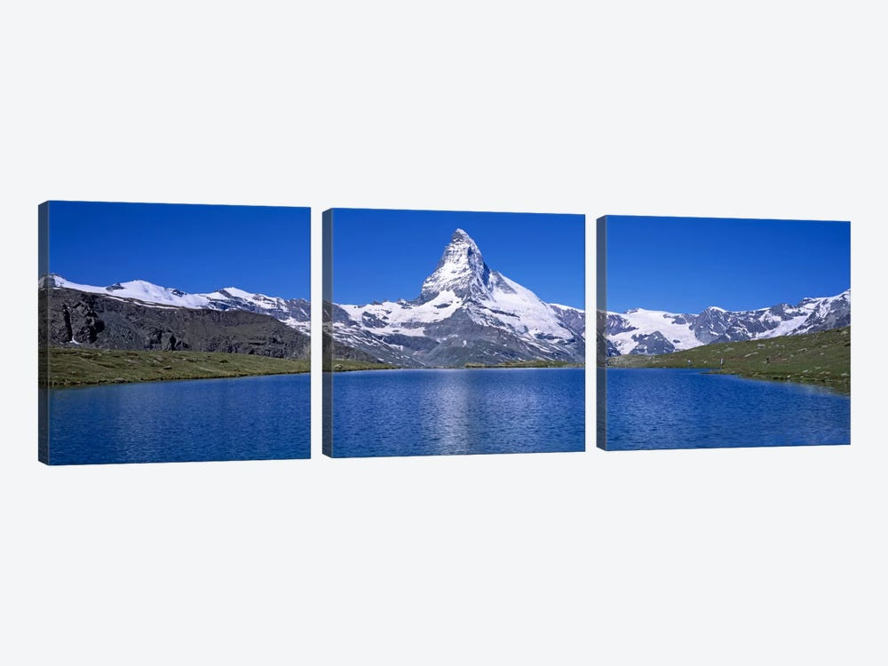 A Snow Covered Matterhorn With Reffelsee In The Foreground, Valais, Switzerland by Panoramic Images 3-piece Art Print