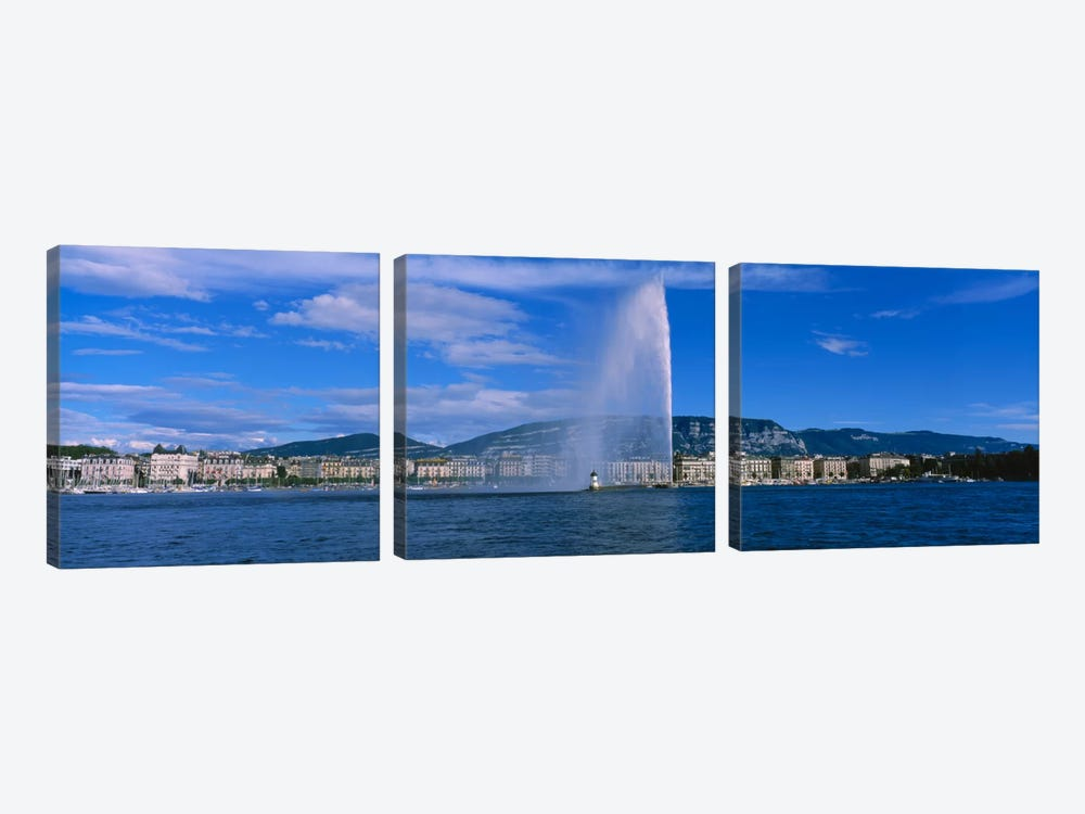 A Jetting Jet d'Eau, Geneva, Switzerland 3-piece Canvas Art Print