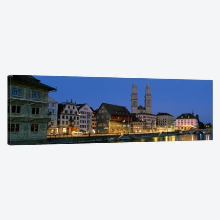 Buildings at the waterfront, Grossmunster Cathedral, Zurich, Switzerland Canvas Print #PIM2121} by Panoramic Images Canvas Wall Art