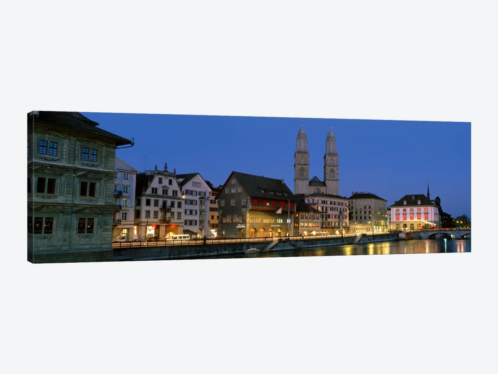 Buildings at the waterfront, Grossmunster Cathedral, Zurich, Switzerland by Panoramic Images 1-piece Canvas Wall Art