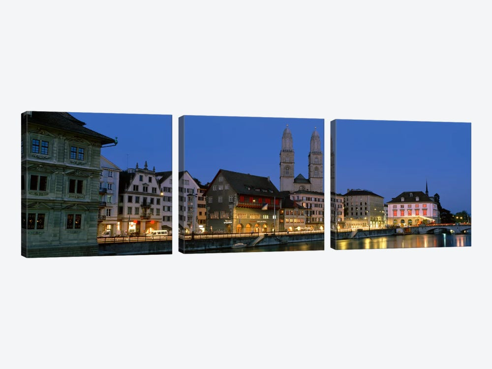 Buildings at the waterfront, Grossmunster Cathedral, Zurich, Switzerland by Panoramic Images 3-piece Canvas Art