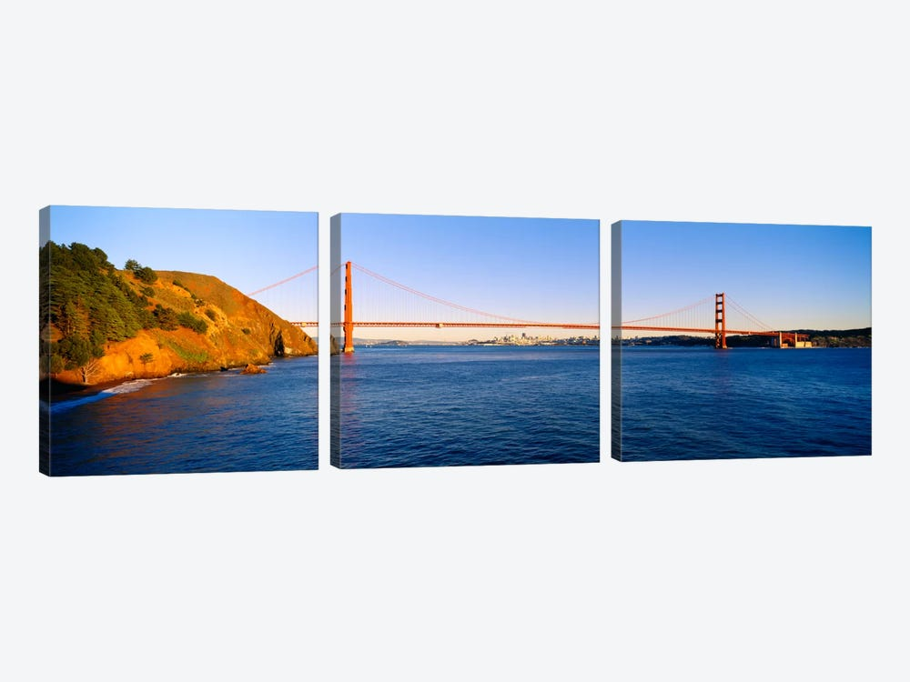 Suspension bridge across the sea, Golden Gate Bridge, San Francisco, California, USA #2 by Panoramic Images 3-piece Canvas Art