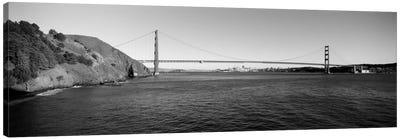 Suspension bridge across the sea, Golden Gate Bridge, San Francisco, California, USA (black & white) Canvas Print #PIM2125bw