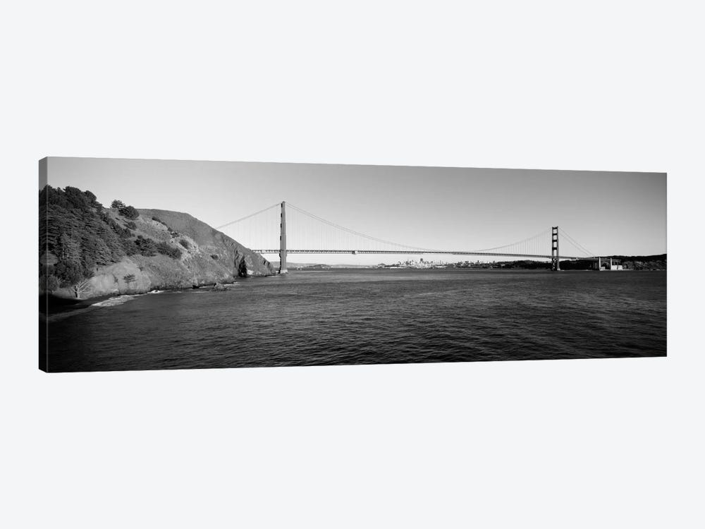 Suspension bridge across the sea, Golden Gate Bridge, San Francisco, California, USA (black & white) by Panoramic Images 1-piece Canvas Wall Art