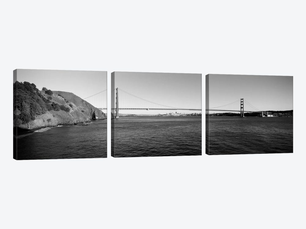 Suspension bridge across the sea, Golden Gate Bridge, San Francisco, California, USA (black & white) by Panoramic Images 3-piece Canvas Art