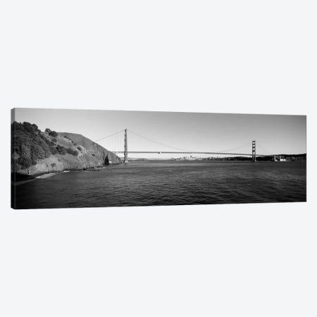 Suspension bridge across the sea, Golden Gate Bridge, San Francisco, California, USA (black & white) Canvas Print #PIM2125bw} by Panoramic Images Canvas Art Print