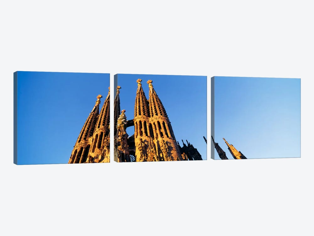 Low angle view of a churchSagrada Familia, Barcelona, Spain by Panoramic Images 3-piece Canvas Print