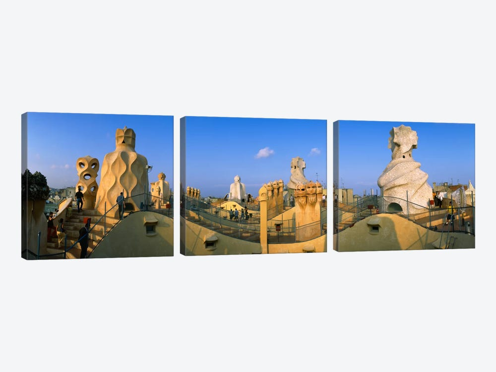 Rooftop Espanata Bruixes (Witch Scarers), Casa Mila, Barcelona, Catalonia, Spain by Panoramic Images 3-piece Canvas Wall Art