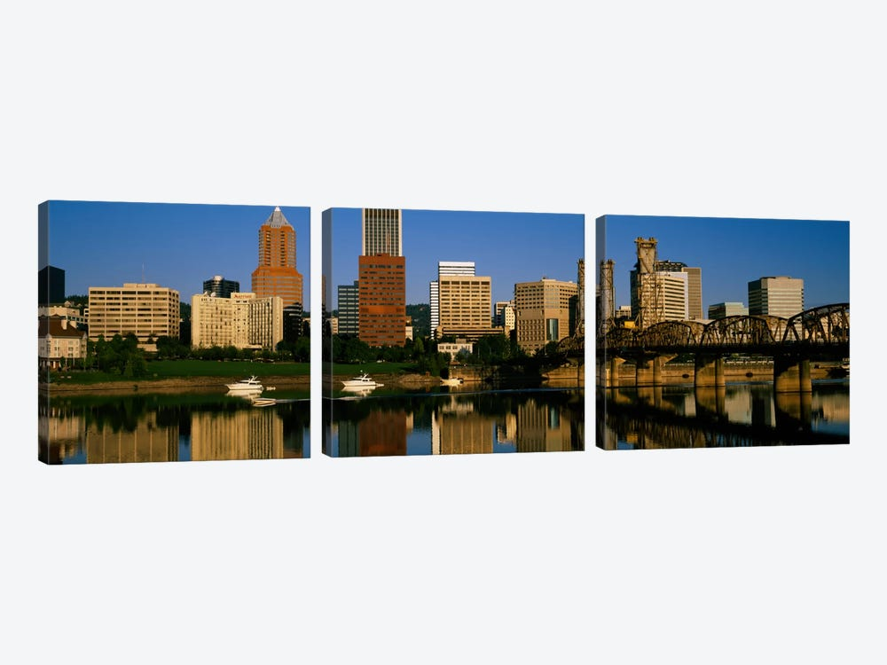 Buildings at the waterfront, Portland, Oregon, USA by Panoramic Images 3-piece Canvas Print