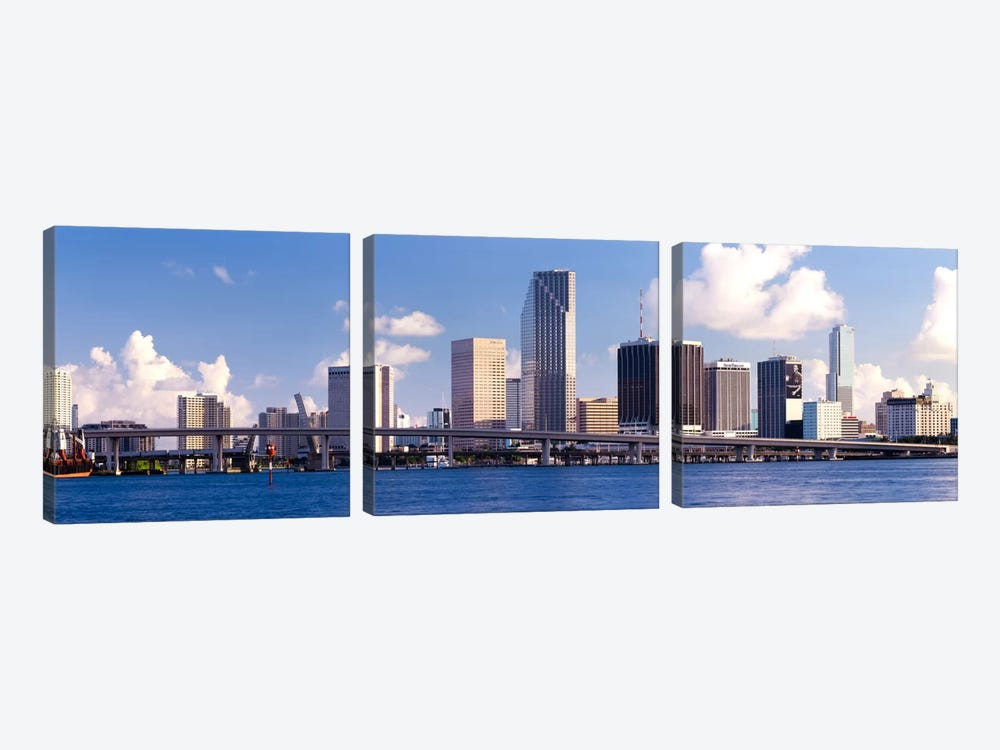 Buildings at the waterfront, Miami, Florida, USA by Panoramic Images 3-piece Canvas Wall Art