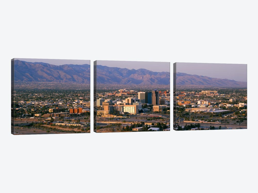High angle view of a cityscapeTucson, Arizona, USA 3-piece Canvas Art