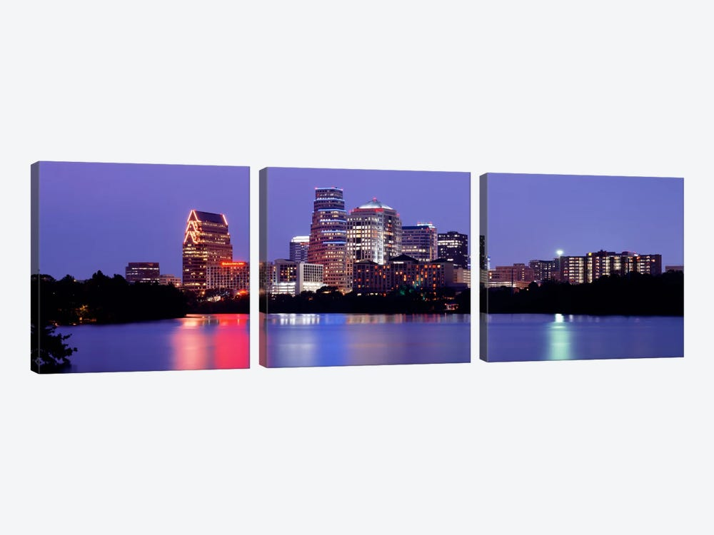 USTexas, Austin, skyline, night by Panoramic Images 3-piece Canvas Print
