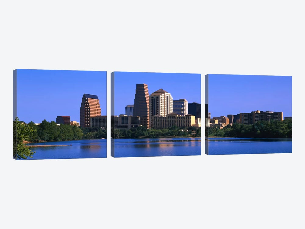 Skyscrapers at the waterfront, Austin, Texas, USA by Panoramic Images 3-piece Canvas Wall Art