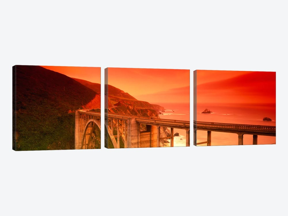Majestic Coastal Landscape Featuring Bixby Creek Bridge, Big Sur, Monterey County, California, USA by Panoramic Images 3-piece Art Print