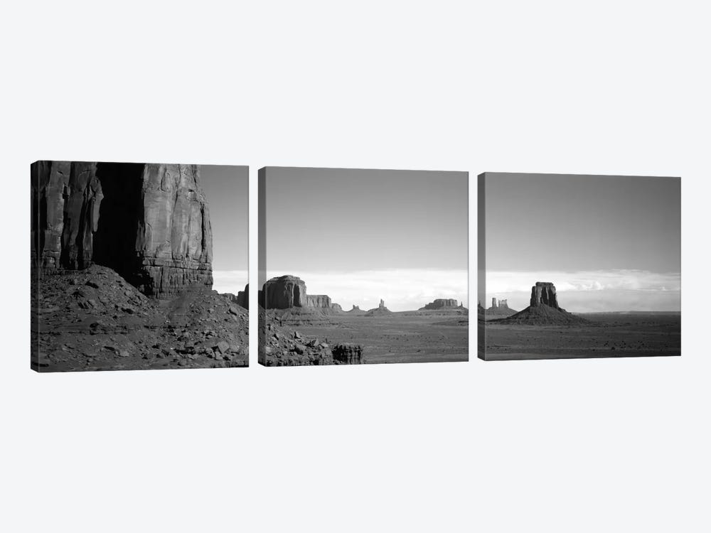 Monument Valley In B&W, Navajo Nation, Arizona, USA by Panoramic Images 3-piece Canvas Artwork
