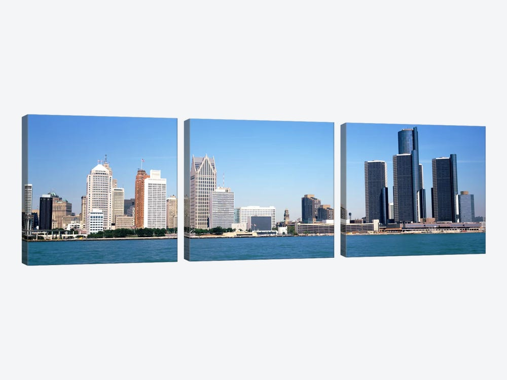Skyline Detroit MI USA by Panoramic Images 3-piece Canvas Print
